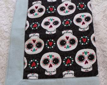 Light Blue Sugar Skull Receiving Blanket