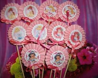 Princess Birthday party pink cupcake toppers set of 10 pcs,Baby Shower Birthday Party Princess Centerpieces , cupcake picks,Handmade toppers