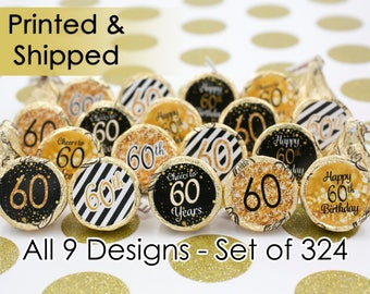 60th Birthday Party Decorations - Gold & Black - Party Favor Stickers for Hershey Kisses (Set of 324)