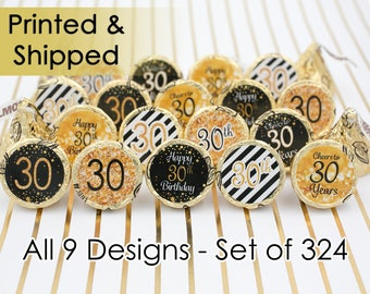 Happy 30th Birthday Gold Glitter Theme Party Favor Candy Stickers - 30th Party Supplies, 30th Birthday Decor Idea, Cheers to 30 (Set of 324)