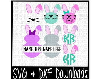Easter Bunny SVG * Bunny * Monogram Cut File - SVG & DXF Files - Silhouette Cameo/Cricut