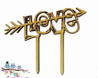 Wedding Cake Topper   Custom Cake Topper   Personalised Cake Topper   Wedding Cake Topper  Silhouette Cake Topper- Love Arrow