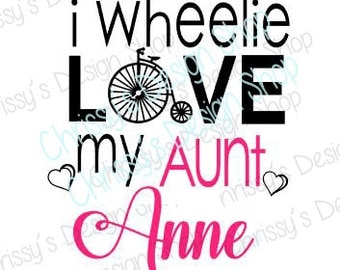 Love auntie SVG / tricycle svg / love auntie cut file / love auntie dxf / auntie cut file / tricycle silhouette / family svg / vinyl crafts