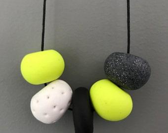 Handmade Polymer Clay Bead Necklace - Fluro Yellow, Granite, White & Black