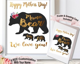 Personalized Mothersday Gift, Mama Bear, Mama Bear Baby Bear, Mama Bear Design, Mama Bear Family, Mother From Daughter, Present For My Mom