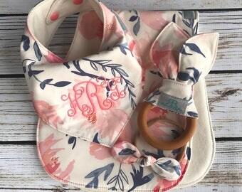 Floral Monogrammed Baby Gift Set | Monogrammed Baby Bib |  Baby Girl Gift | New Mom Baby Gift | Baby Shower Gift Set | Bandana Bib