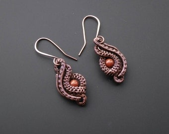Goldstone earrings, wire wrapped earring,  handmade jewellery, wire jewellery, copper earrings, gemstone jewellery, hook earring