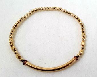 Gold Filled Beaded Bracelet-Stackable/Stack Bracelets/Trendy/Charm Bracelet/Jewelry/Stretch Bracelet/ Swarovski tube Bracelet/Tube Bead
