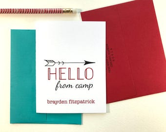 Camp Stationary, Kids Stationary Personalized Cards, Summer Camp, Thank You Card, Sleep Away Camp Personalized Stationery Set of 10