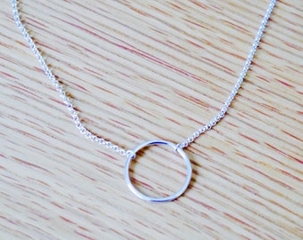 Sterling silver circle necklace, karma necklace, delicate necklace, simple sterling silver jewelry, minimalist necklace, eternity necklace
