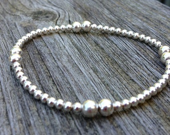 Sterling silver bead bracelet, 3 and 5 mm sterling silver beads, stretch bracelet, stacking bracelet,