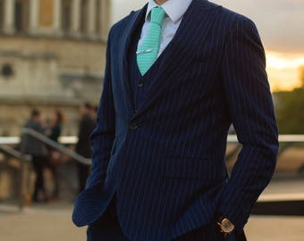 Pinstripe Suit in Navy Blue with Embroidered Pocket Watch/ Men's Bespoke Suit/ Custom Fitted Suit/ Hand Made Suit/ 3 Piece Suit