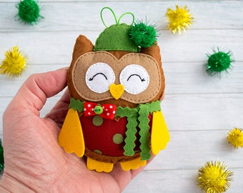 Christmas tree toy Felt owls Decorative owl Xmas ornament Owl toy Christmas Gift Christmas decoration for home Homemade gift for friend