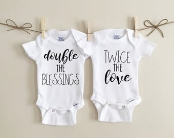 Double the blessings twice the love, twin onesies, baby onesie, baby bodysuit