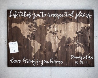Custom Wood World Map - 30x44 World / State Map Sign - Handlettered Customizable Wooden Wall Map - Wood Anniversary Gift - Custom Wood Signs
