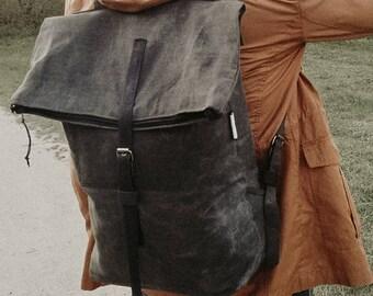 Waxed canvas backpack, Khaki backpack, Mens backpack, Rucksack, School bag, Laptop bag, Green backpack, Travel bag, Handmade, Eco friendly