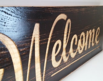 Cursive Welcome sign engraved wood