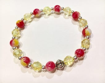 Yellow Coral Floral Beaded Bracelet