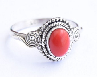 Coral Ring, Coral Stone  Ring, Sterling Silver Ring, Coral Silver Ring, January Birthstone Ring,Size = 3 4 5 6 7 8 9 10 11 12 13