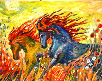 Painting on canvas horse Abstract painting on canvas Artwork on canvas Decorative painting horses Oil painting on canvas Oil painting horses