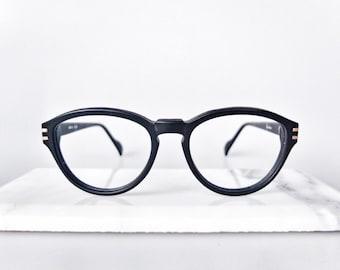 1980's Rounded Vintage, Matte Black Glasses Frame.