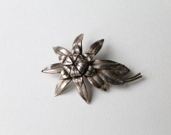 Vintage Flower brooch. Oxidised budding blossoming flower brooch. Naturally oxidised silver tone budding flower brooch.
