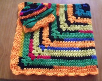 NEW Handmade Crochet Baby Blanket and Hat/Beanie Set - Primary Colors Striped - A Wonderful Baby Shower Gift!! - SEE NOTE!
