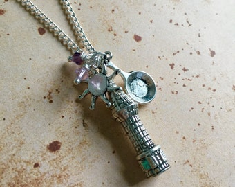Rapunzel Tower Charm Necklace -Silver or Bronze