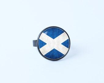 Scottish flag ring Flag ring Scottish jewelry Girlfriend gift Flag of Scotland Flag sign jewelry Patriotic jewelry St Andrews cross Girl's