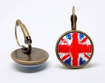 Union Jack earrings United Kingdom Flag earrings UK jewelry Patriotic jewelry Flag jewellery British flag Gift idea Travel Red Blue White