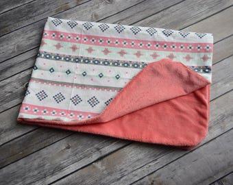 Southwestern Baby Girl Blanket, Coral Mint Baby Blanket, Tribal Baby Girl Blanket, Stroller Blanket, Minky Baby Blanket, Baby Shower Gift