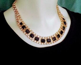 SALE 30% Vintage Necklace/Black Stone Necklace/Clear Rhinestone Necklace/Gold Rhinestone Necklace/Vintage Rhinestone Necklace/Nr.092