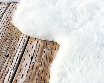 Faux Fur Rug, White Fur Rug, Grey Fur Rug, Sheepskin Rug, Plush