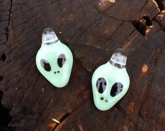 Alien Charm ~ Creamy Mint ~ Glass Pendant ~ Necklace ~ Handmade by Linny Lou Lampworks