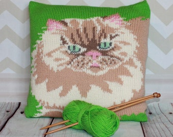 Knitting Pattern PDF Download - Cameo Persian Cat Pet Portrait Pillow Cushion Cover