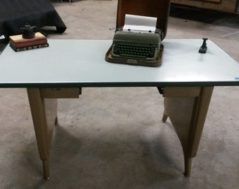 Vintage Metal Table /Desk, Tanker style desk, Work Table, missing middle drawer, All Metal, Green top with green rubber edging Tan color