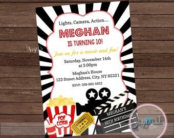 Movie Party Invitation, Movie Night Party Invitation, Movie Night Invitation, Movie Night Birthday Invitation, Movie Invitation Digital File