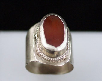 Collectible Turkmen Silver Ring with Carnelian TJ 123