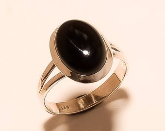 Sterling Silver Ring Black Onyx Gemstone Ring Natural Black Onyx Ring Onyx Cabochon Ring 925 Sterling Silver Onyx Stone Ring Onyx Us8.7 E774