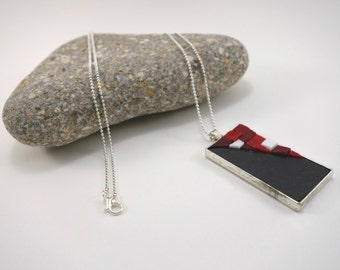 Necklace with Pendant in Slate and Venetian red and white smaltis
