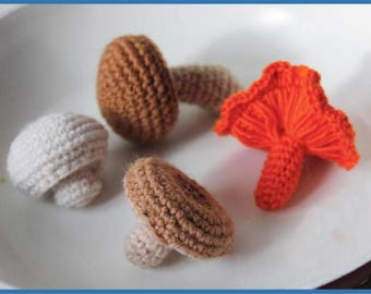 PDF Crochet Pattern Mushrooms Collection, Amigurumi mushroom, Amigurumi Pattern, crochet play food, amigurumi play food, handmade toy