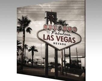 Photo Art Canvas Welcome to Fabulous Las Vegas Sign Sepia Original Photography
