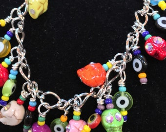 Day of the Dead Beaded Chain Charm Bracelet