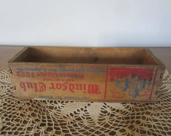 vintage cheese crate, small crate, wood box, card box, advertising crate, Windsor Club cheese
