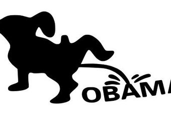 Dog peeing on obama Decal