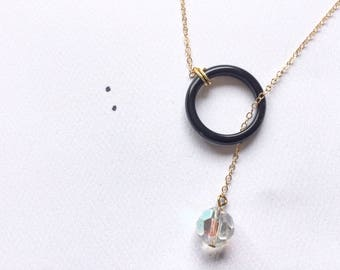 Lariat with Vintage Aurora Borealis Glass Bead Boho Pendant on Gold Chain, Gifts Under 30