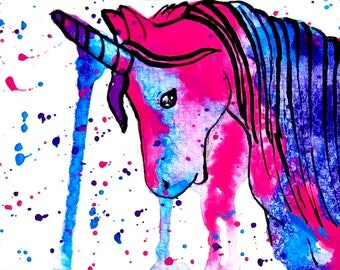 Unicorn ACEO Original, Pink Unicorn Painting, Purple Unicorn Art, Unicorn Original Painting, Unicorn Original Art, Unicorn Miniature Art
