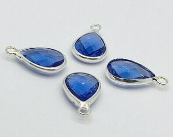 5Pcs Blue Glass Teardrop Bezel Pendant,10*14mmBrass Bezel Charm,Wholesale Jewelry Supplies