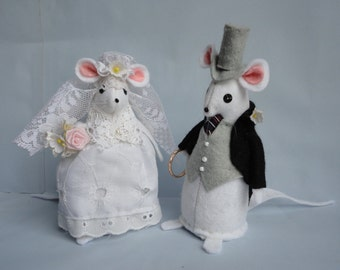 Wedding Mice Cake Topper Bride and Groom Felt Mice