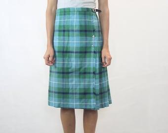 VINTAGE Moffat Weavers Scotland Green Blue Tartan Wool 80s Skirt Kilt Size M